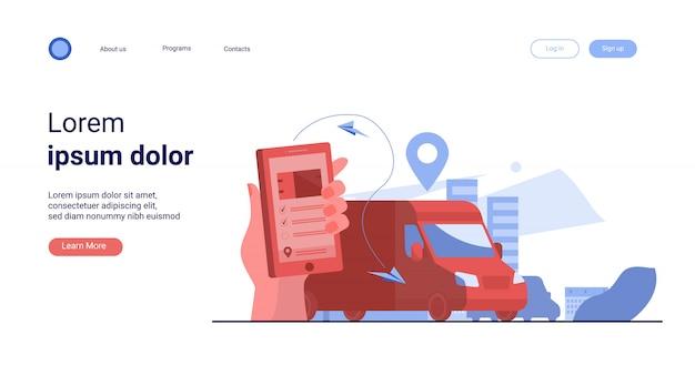 Cliente usando aplicativo móvel para rastreamento de entrega de pedido