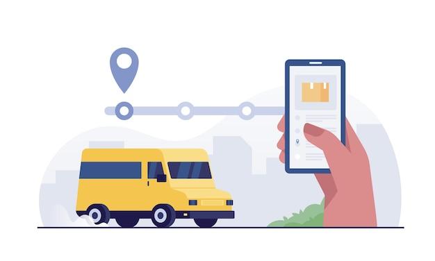 Cliente usando aplicativo móvel para rastreamento de entrega de pedidos. mão humana com smartphone.