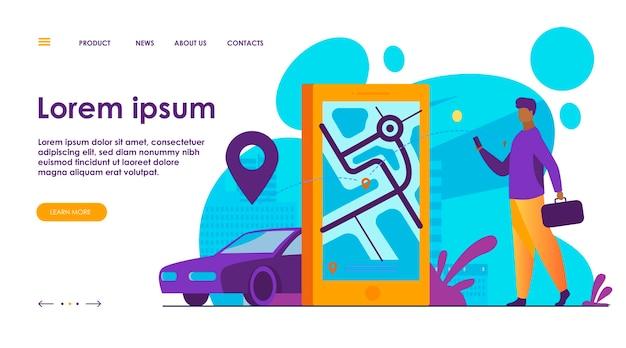 Cliente usando aplicativo online para pedido de táxi ou aluguel de carro