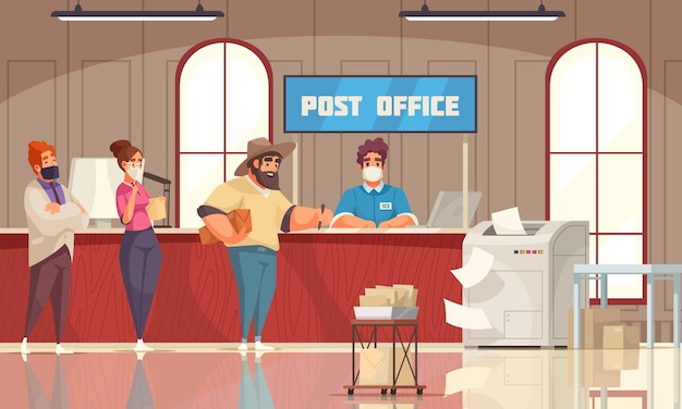 Clientes da composição do desenho do interior da estação de correios na fila à espera do balconista