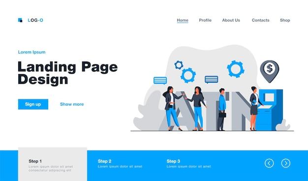 Clientes de banco usando a página de destino do caixa eletrônico em estilo simples
