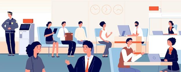 Clientes de escritórios do banco. interior bancário, funcionária da mulher falando com o jovem empresário. fila para ilustração vetorial de consulta financeira. finanças bancárias, serviço de pagamento bancário