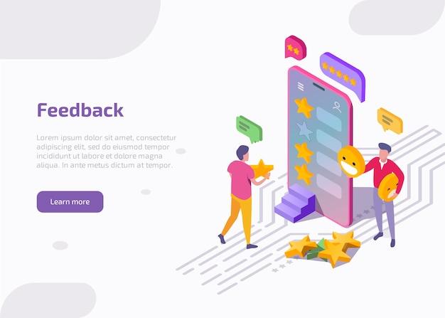 Clientes de ilustração isométrica de feedback avaliam tecnologia de produto ou serviço