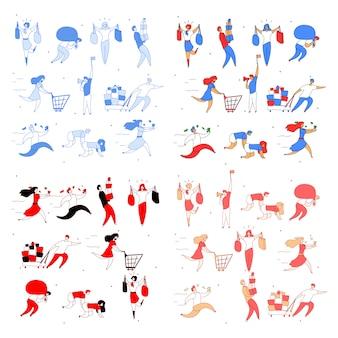 Clientes de personagens plana de desenho moderno