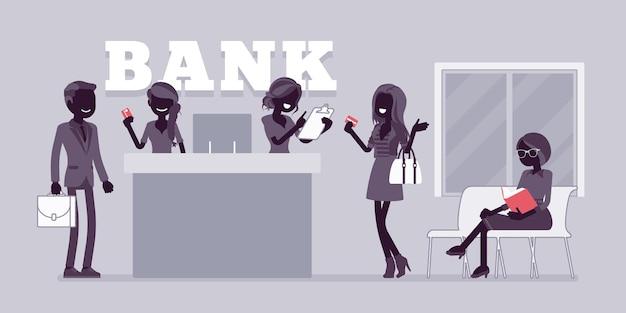 Clientes e consultores em uma agência bancária