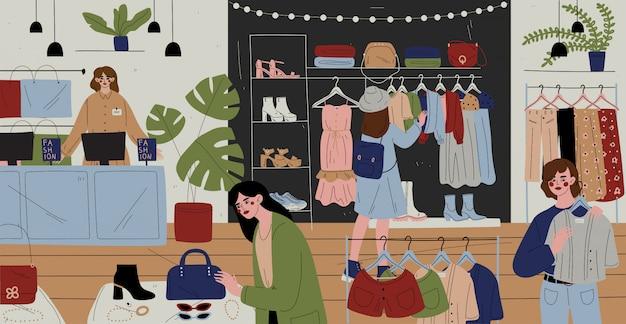 Clientes e funcionários na loja de roupas