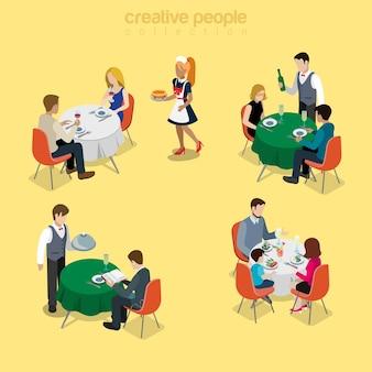 Clientes em restaurante comendo ilustração
