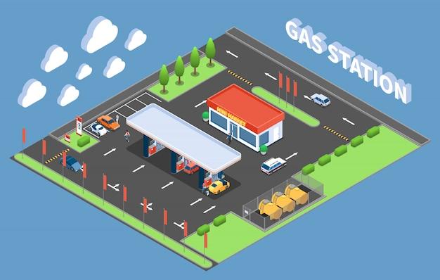 Clientes no posto de gasolina com loja isométrica edifício ilustração vetorial de composição