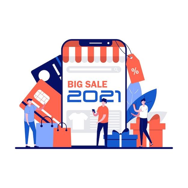 Clientes ou compradores em frente a um enorme smartphone com texto de grande venda na tela.