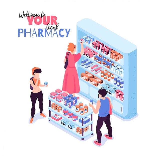 Clientes que compram remédios na ilustração 3d isométrica de farmácia