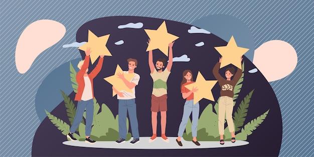 Clientes satisfeitos que avaliam a qualidade dos serviços com estrelas de revisão