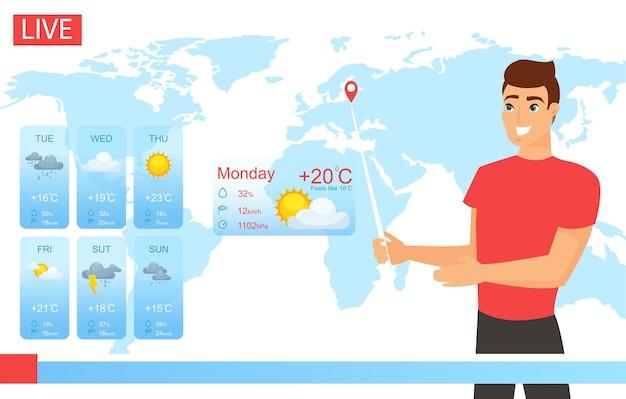 Clima de tv. personagem sorridente do apresentador de tv trabalhando no noticiário, meteorologista mostrando o tempo