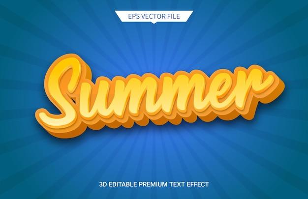 Clima de verão e efeito de texto editável em 3d de férias Vetor Premium