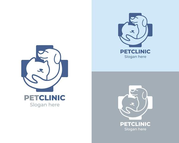 Clínica de animais com fotos de cães e gatos