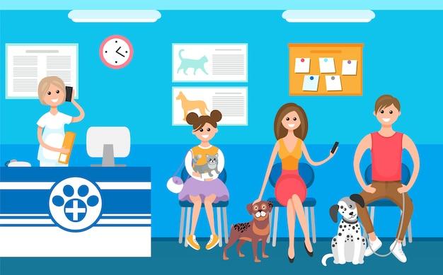 Clínica de animais de estimação, recepcionista veterinária e fila