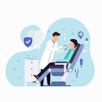 Clínica de atendimento odontológico para ilustração de conceito de design de check-up