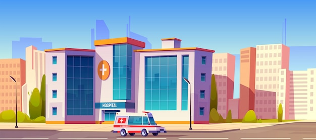 Clínica de hospital edifício com ambulância carro caminhão
