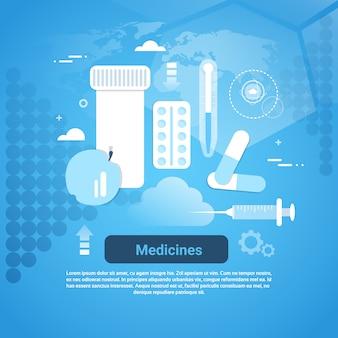 Clínica de medicamentos e bandeira de web de conceito de tratamento médico