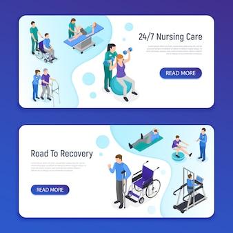 Clínica de reabilitação fisioterapia 2 banners web isométricos horizontais com caminho de cuidados de enfermagem para informações de recuperação