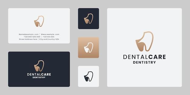 Clínica dentária, atendimento odontológico, design de logotipo de serviço com cartão de visita