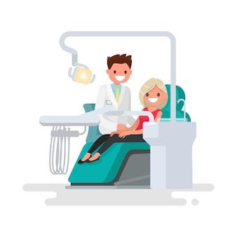 Clínica dentária. ilustração de dentista e paciente