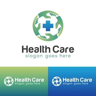 Clínica médica com enfermeira para cuidar das mãos ajuda a apoiar o design de logotipo de saúde