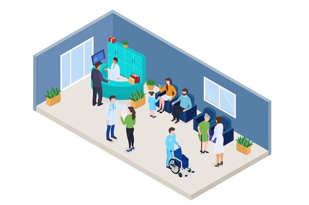 Clínica médica isométrica conceito ilustração vetorial homem mulher pessoas personagem paciente esperando em c ...