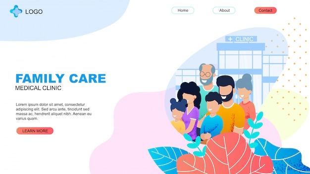Clínica médica landing page com family care title