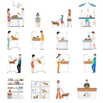 Clínica moderna da loja e do animal de estimação de animal de estimação, cuidados médicos animais dos desenhos animados.