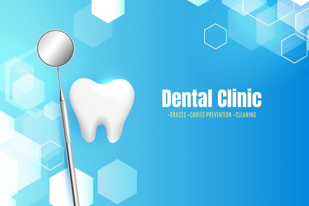 Clínica odontológica com fundo abstrato