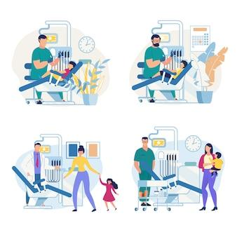 Clínica odontológica pediátrica de poster informativo.