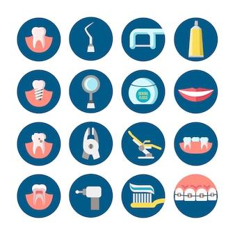 Clínica odontológica serviços ícones do vetor plana