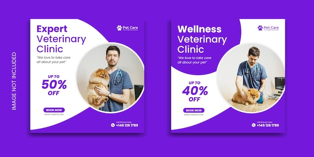 Clínica veterinária banner premium animal de estimação mídia social postar modelo do instagram animal design de folheto quadrado