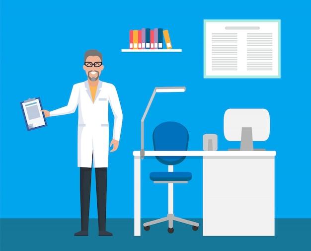 Clínica veterinária, médico do quarto com prancheta de arquivo