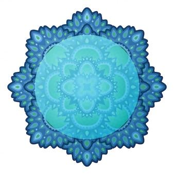 Clip-art azul com design oriental isolado
