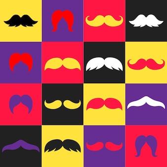 Clip-art de bigodes modernos e minimalistas e coloridos