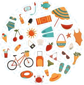 Clip-art do vetor de horário de verão conjunto de roupas de verão, frutas, praia e itens de férias, animais marinhos