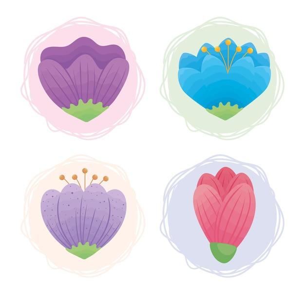 Clip-art fofo da natureza com quatro flores