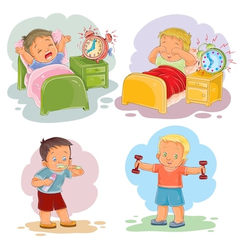 Clip art, ilustrações, pequeno, crianças, acordar, manhã