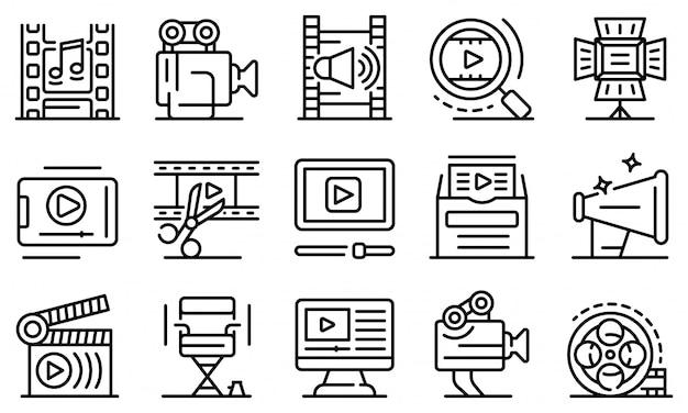 Clip maker conjunto de ícones, estilo de estrutura de tópicos