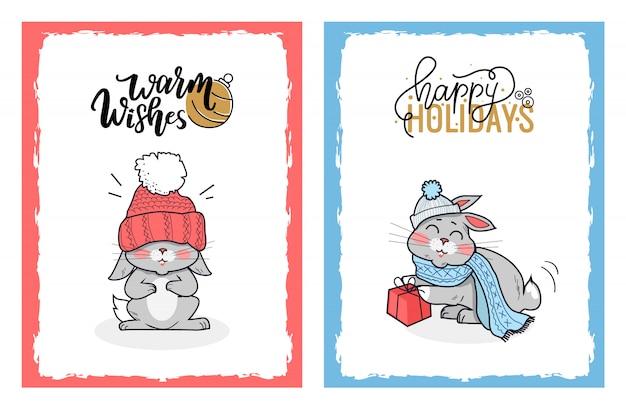 Clipart - coelhos adorável, ligado, cartões natal