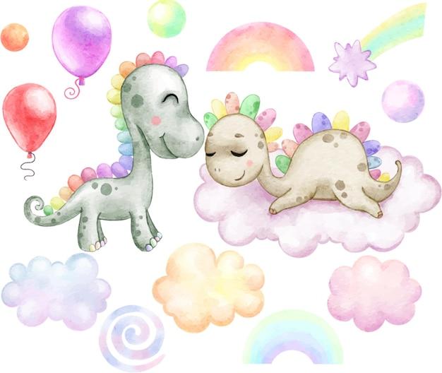 Clipart com arco-íris, dinossauros e nuvens, estrelas, balões pintados em aquarela