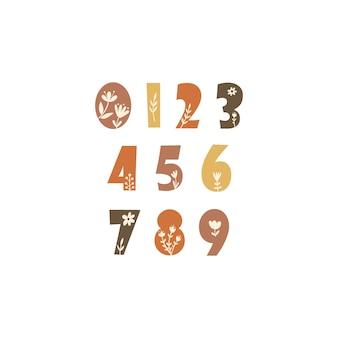 Clipart com números e elementos florais. ilustração vetorial.