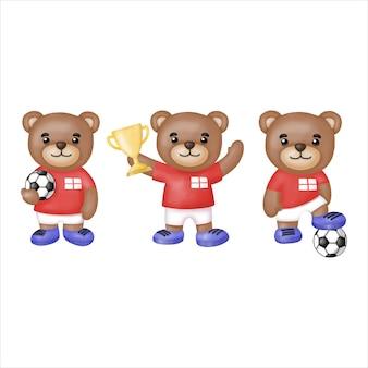 Clipart da equipe de futebol de inglaterra urso aquarela.