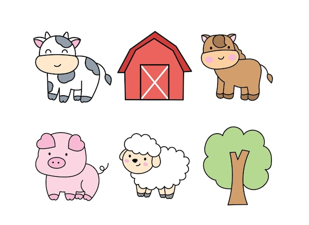 Clipart de animais de fazenda.