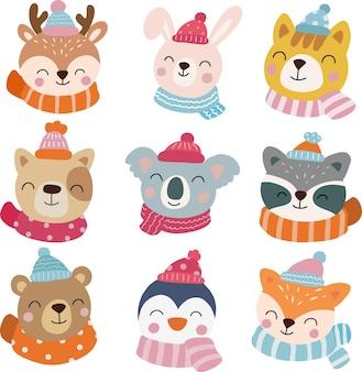Clipart de animais de inverno, animais, feliz natal