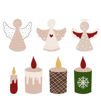 Clipart de anjos e velas de natal. ilustração vetorial.