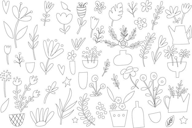Clipart de contorno floral. ilustração vetorial.