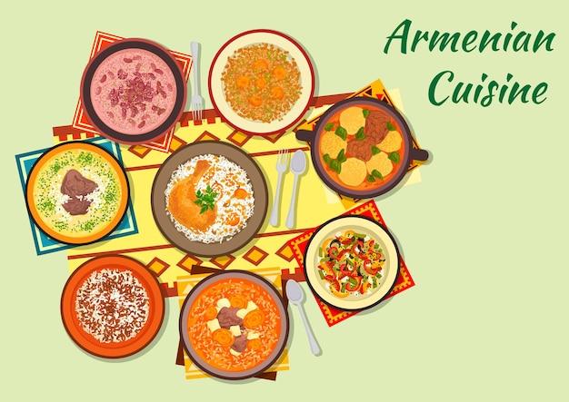 Clipart de culinária armênia com sopa de bolinho de massa, frango assado recheado com arroz e frutas secas, sopa de carne com damasco seco