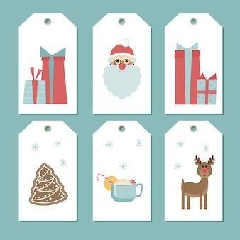 Clipart de etiqueta de natal. conjunto de etiquetas da loja de natal. doodle de natal feito à mão